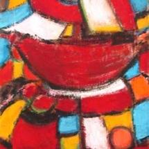 Femme au panier rouge
